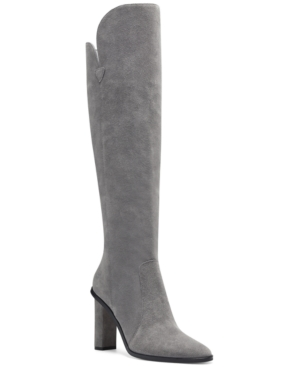 A leg-lengthening silhouette and asymmetrical lines top off the trend-right block-heel on Vince Camuto\\\'s sleek Palley over-the-knee boots.