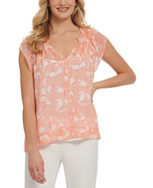 Printed Split-Neck Blouse
