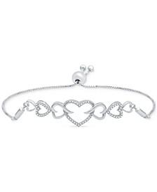 Diamond Interlocking Heart Bolo Bracelet (1/6 ct. t.w.) in Sterling Silver