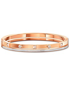 Two-Tone Crystal Double-Row Bangle Bracelet