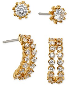 2-Pc. Set Cubic Zirconia Stud and Curved Bar Earrings, Created for Macy's