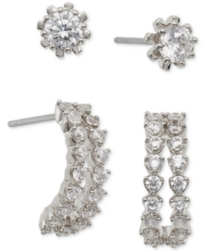 2-Pc. Set Cubic Zirconia Stud and Curved Bar Earrings