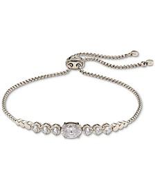 Silver-Tone Cubic Zirconia Bezel Bolo Bracelet in Sterling Silver, Created for Macy's
