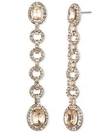Stone & Crystal Halo Linear Drop Earrings