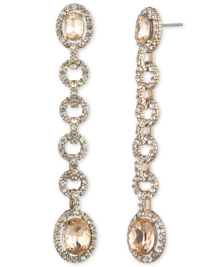 Givenchy - Stone & Crystal Halo Linear Drop Earrings