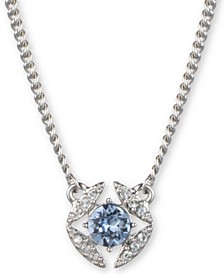 "Stone & Crystal Pendant Necklace, 16"" + 3"" extender"