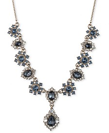 """Gold-Tone Stone & Crystal Fancy Statement Necklace, 16"""" + 3"""" extender"""