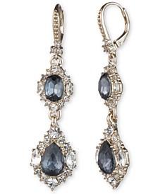 Gold-Tone Stone & Crystal Double Drop Earrings