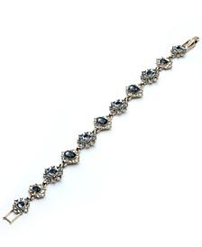 Gold-Tone Stone & Crystal Halo Cluster Flex Bracelet