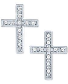 Diamond Cross Stud Earrings (1/20 ct. t.w.) in Sterling Silver