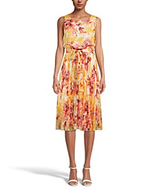 INC Floral-Print Pleated Midi Dress, Created for Macy's