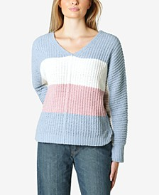 Juniors' Colorblocked Chenille V-Neck Sweater