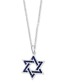 "EFFY® Men's Sapphire Star of David 22"" Pendant Necklace (1 ct. t.w.) in Sterling Silver"