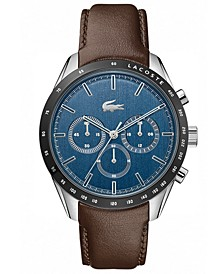 Men's Chronograph Brown Leather Strap Watch 42mm