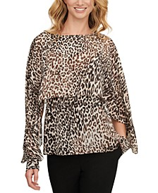 Leopard-Print Cape Top