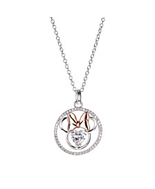 Two-Tone Minnie Mouse Cubic Zirconia Heart Pendant Necklace in Fine Silver Plate