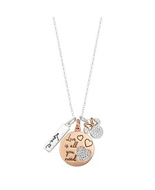 "Two-Tone Minnie Mouse ""Love Is All You Need"" Pendant Necklace  in Fine Silver Plate"