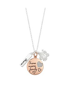 "Two-Tone Lilo and Stitch ""Ohana Means Family"" Pendant Necklace in Fine Silver Plate"