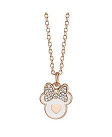 Rose Gold-Tone Minnie Mouse Crystal Pendant Necklace in Fine Silver Plate