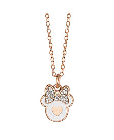 Disney Rose Gold-Tone Minnie Mouse Crystal Pendant Necklace in Fine Silver Plate