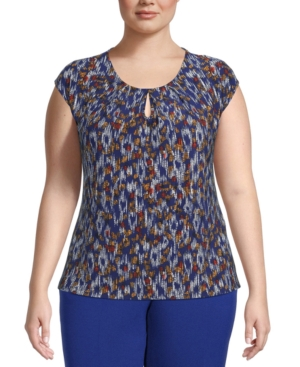 Plus Size Printed Keyhole-Neck Top