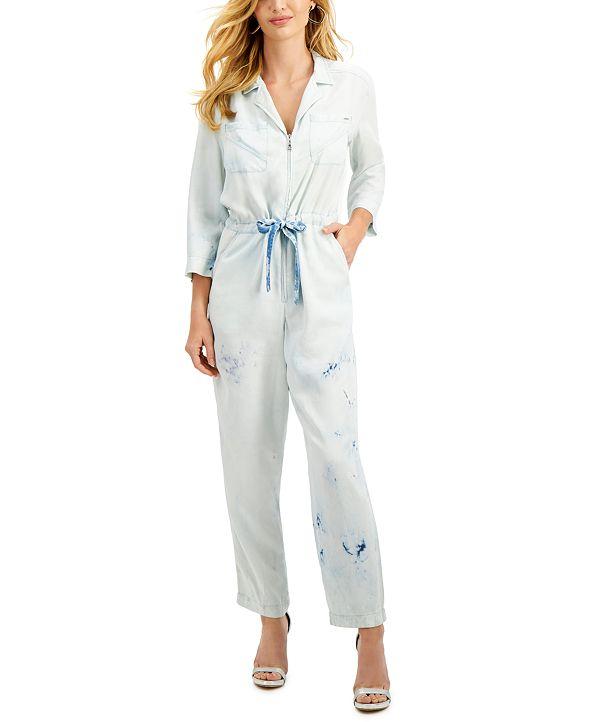 GUESS Gregoria Bleach-Print Zip-Front Jumpsuit