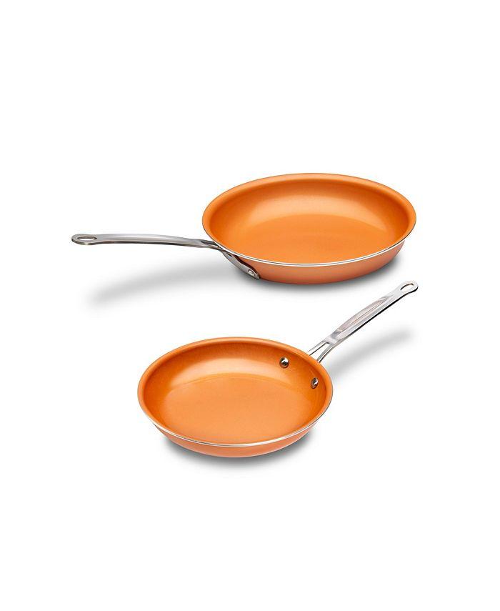 """MasterPan - Copper-tone Ceramic Nonstick 8"""" & 9"""" Fry Pan Set"""