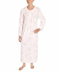 Printed Honeycomb Pointelle Knit Long Nightgown
