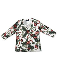 Floral-Print 3/4-Sleeve V-Neck Top, Created for Macy's