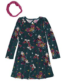 Little Girls Long Sleeve Floral Print Velour Dress with Headwrap