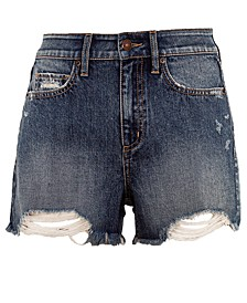Juniors' Distressed High Rise Denim Shorts