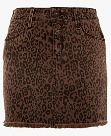 Juniors' Leopard-Print Mini Skirt