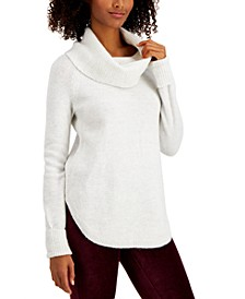 Plus Size Waffle-Knit Cowlneck Sweater, Created for Macy's