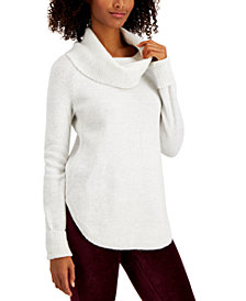 Style & Co Plus Size Waffle-Knit Cowlneck Sweater, Created for Macy's