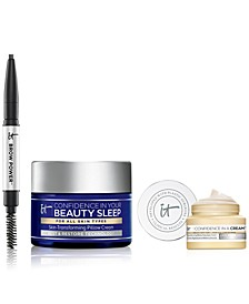 Limited Edition It Cosmetics Set. Travel-Size Confidence in Your Beauty Sleep, Trial-Size Confidence in a Cream and Trial-Size Brow Power. Only $17 with any beauty purchase! A $31 Value.