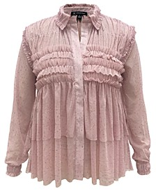 INC Plus Size Ruffled Sheer Top, Created for Macy's