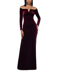Velvet Off-The-Shoulder Gown