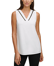Calvin Klein Embellished-Trim V-Neck Top