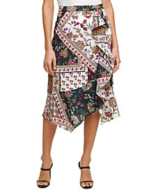 Printed Ruffle-Detail Skirt