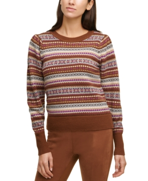 Vintage Sweaters, Retro Sweaters & Cardigan Calvin Klein Fair Isle Printed Crewneck Sweater $47.70 AT vintagedancer.com