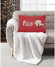 "Naughty/Nice 14"" x 20"" Reversible Decorative Pillow"