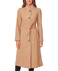 Belted Stand-Collar Maxi Coat