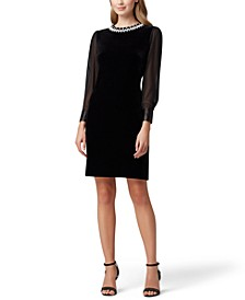 Velvet Beaded Sheer-Sleeve Sheath Dress