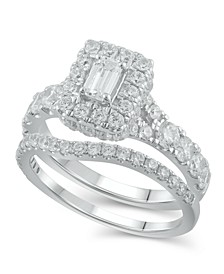 Diamond Halo Emerald Bridal Set (2. ct. t.w.) in 14K White Gold