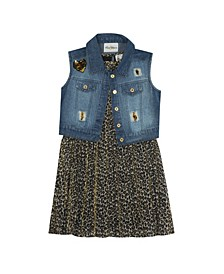 Little Girl Printed Pleated Dress With Denim Vest