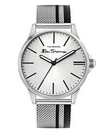 Men's Black Silver-Tone Stainless Steel Classic Three Hand Watch, 41mm