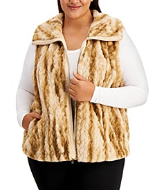 Plus Size Braided Faux-Fur Vest