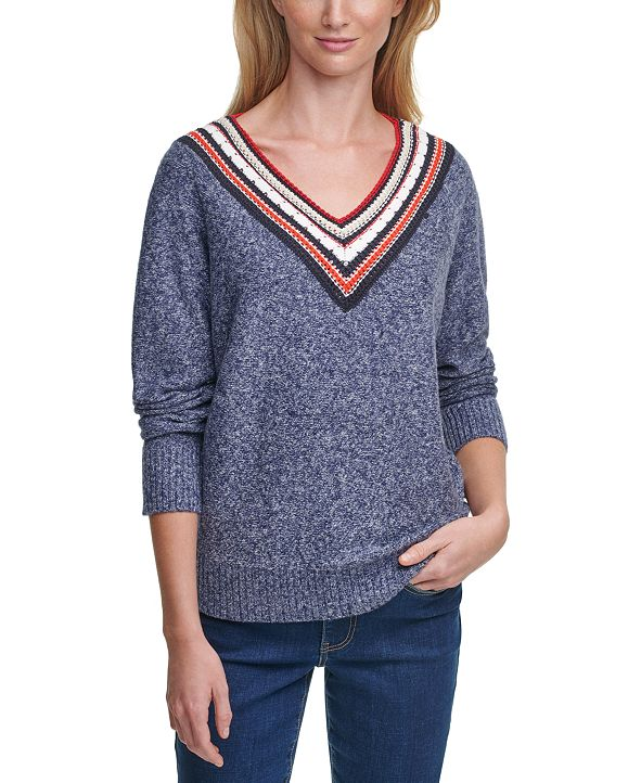 Tommy Hilfiger Textured Marled V-Neck Sweater