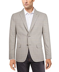 Men's Modern-Fit Gray/White Plaid Sport Coat