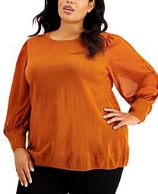 Plus Size Sheer-Sleeve Blouse
